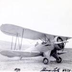 Sherman Lutz in biplane