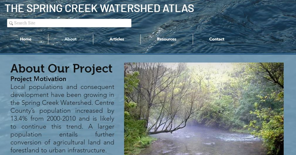 About Our Project page of the Spring Creek Watershed Atlas website